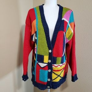 One Step Up Vintage Color Block Knitted Cardigan